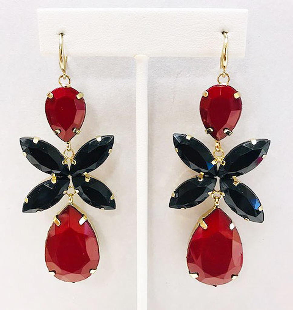 Long Red and Black Statement Danglers