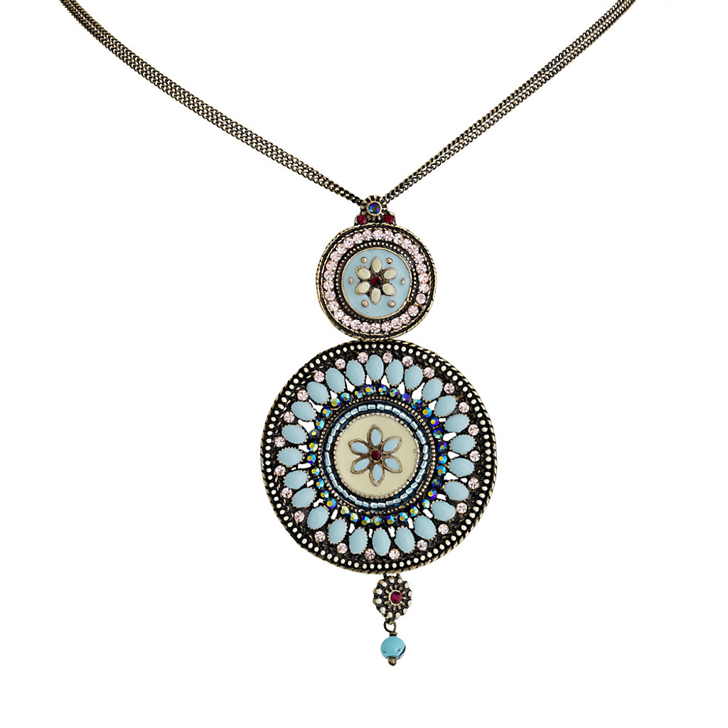 Alba Blue Double Medallion Necklace