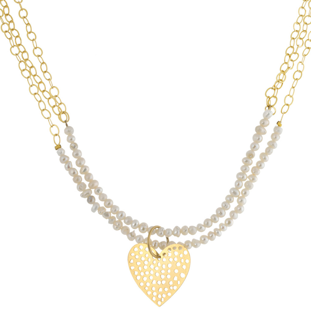 Bold Gold Chains With Pearls/Heart Necklace