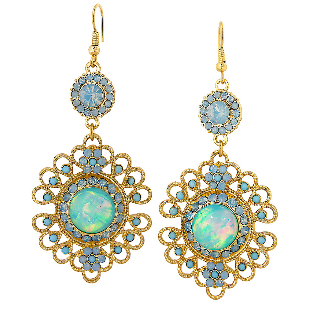 Filigree Flower Earring Blue Opal