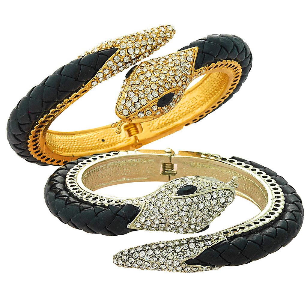 Crystal Snake Braided Leather Bangle
