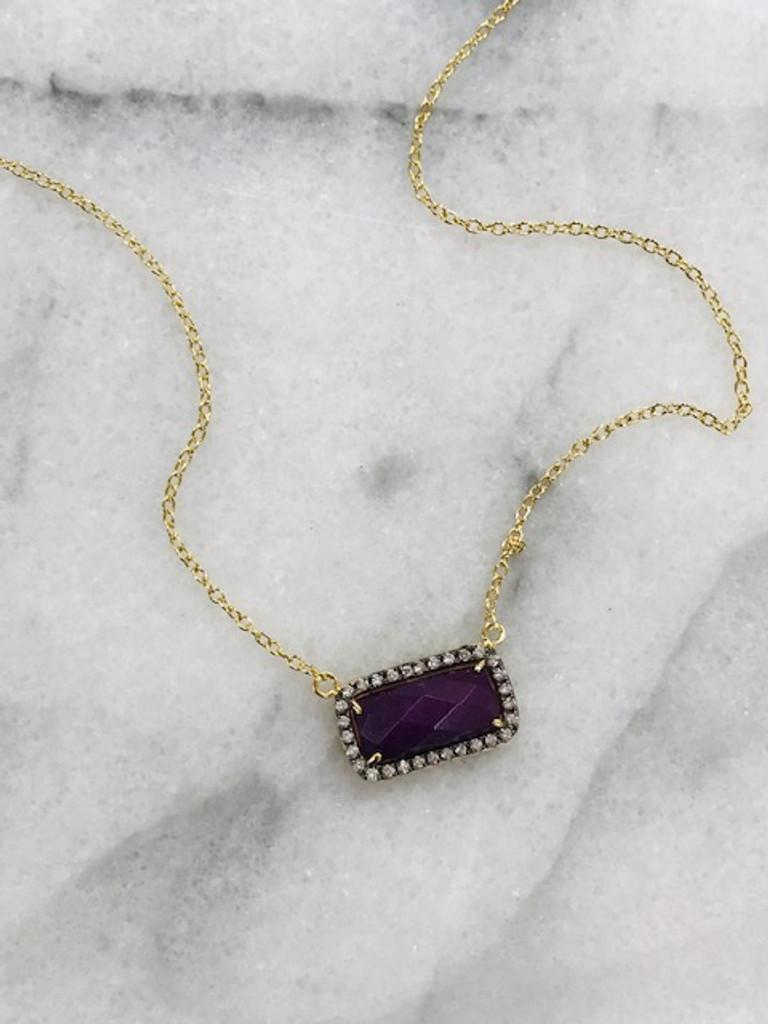Genuine Amethyst Rectangle Necklace