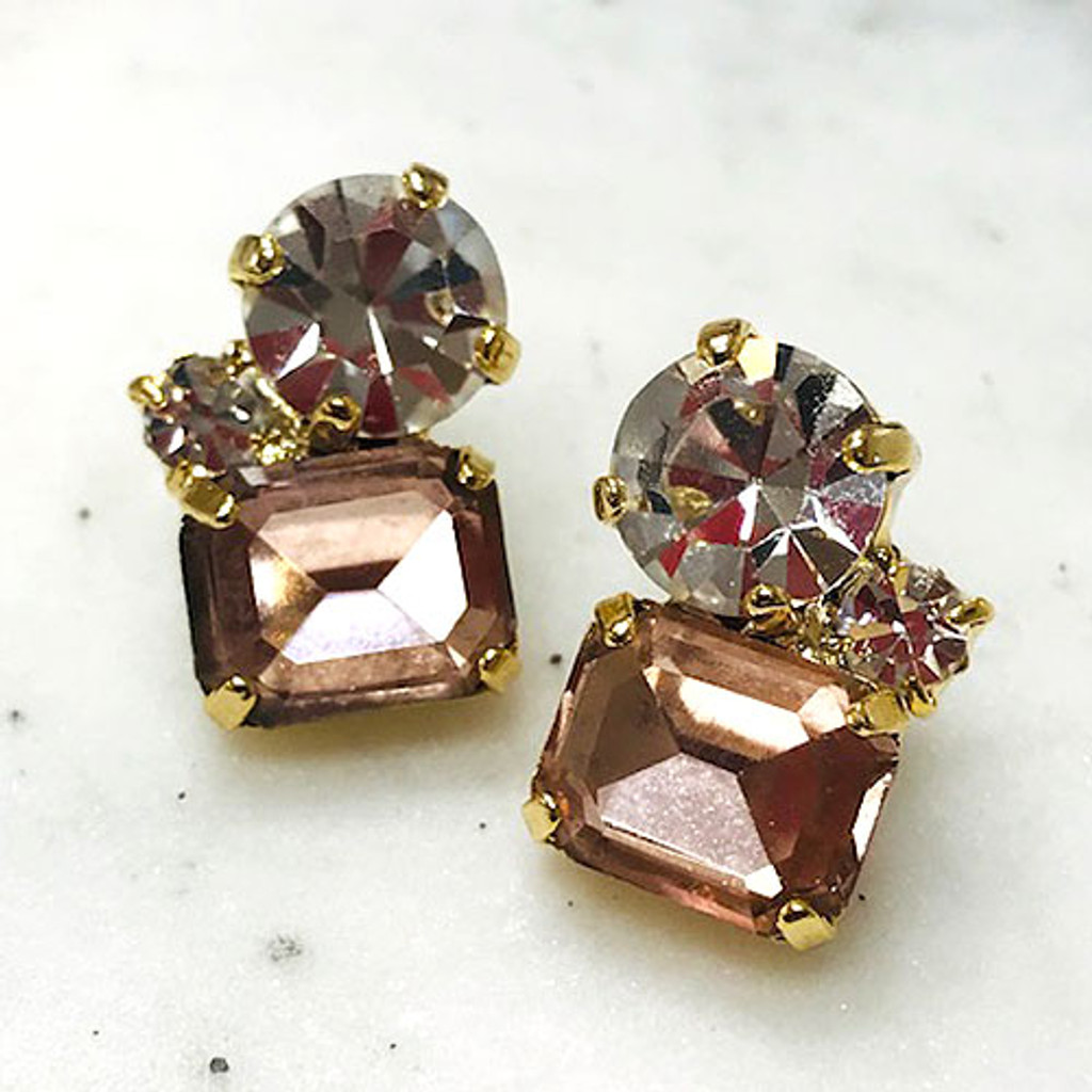 Light Pink Trio Crystal Stud