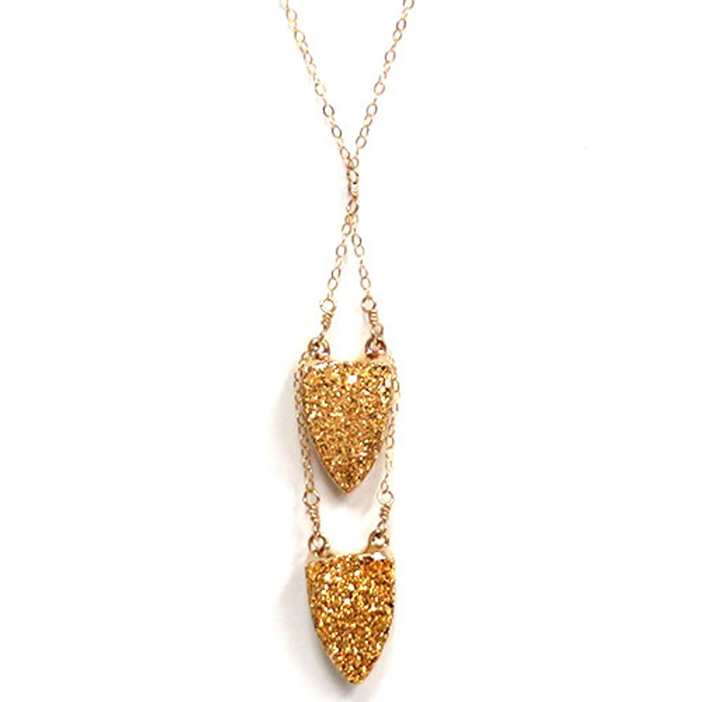 Double Arrowhead Druzy Necklace 1