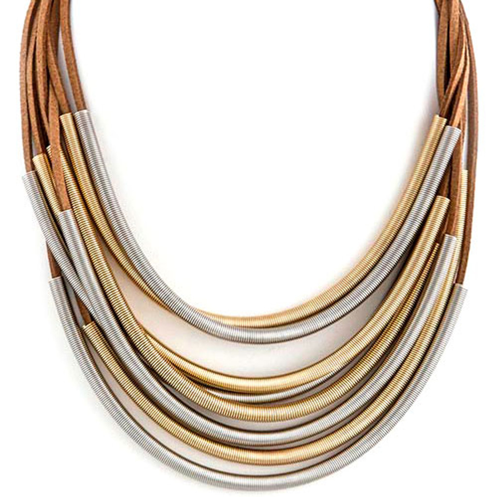Elongated Springs Layered Necklace Brown