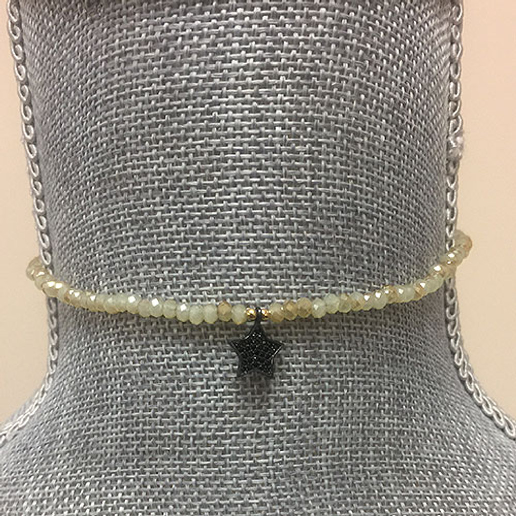 Genuine Citrine Beaded Choker with Black Crystal Star