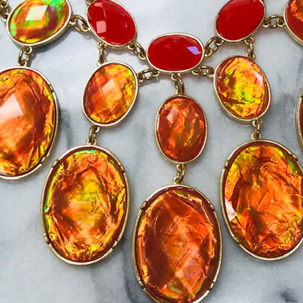 Red Opalescent Statement Necklace