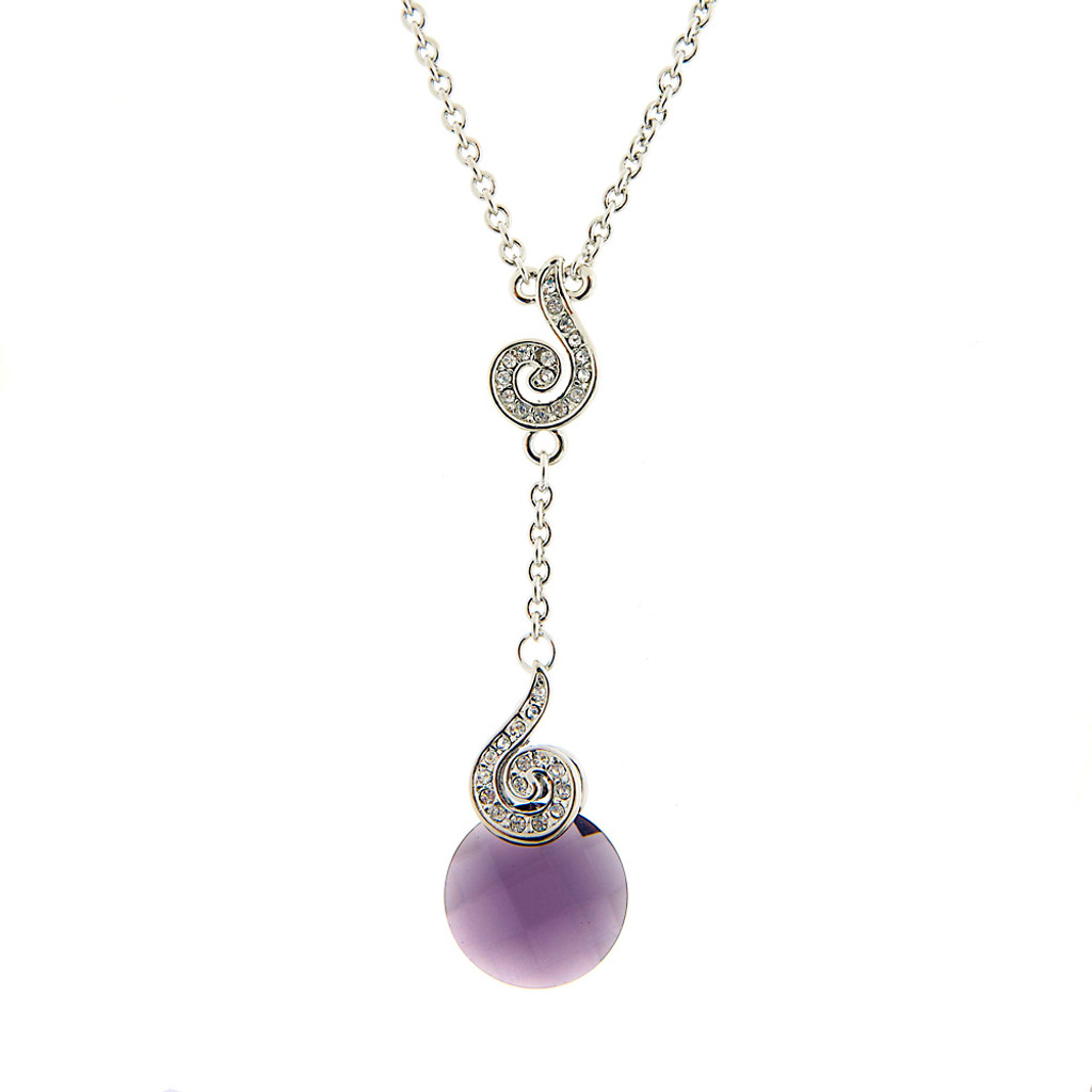 Swirl Amethyst Drop Pendant Necklace