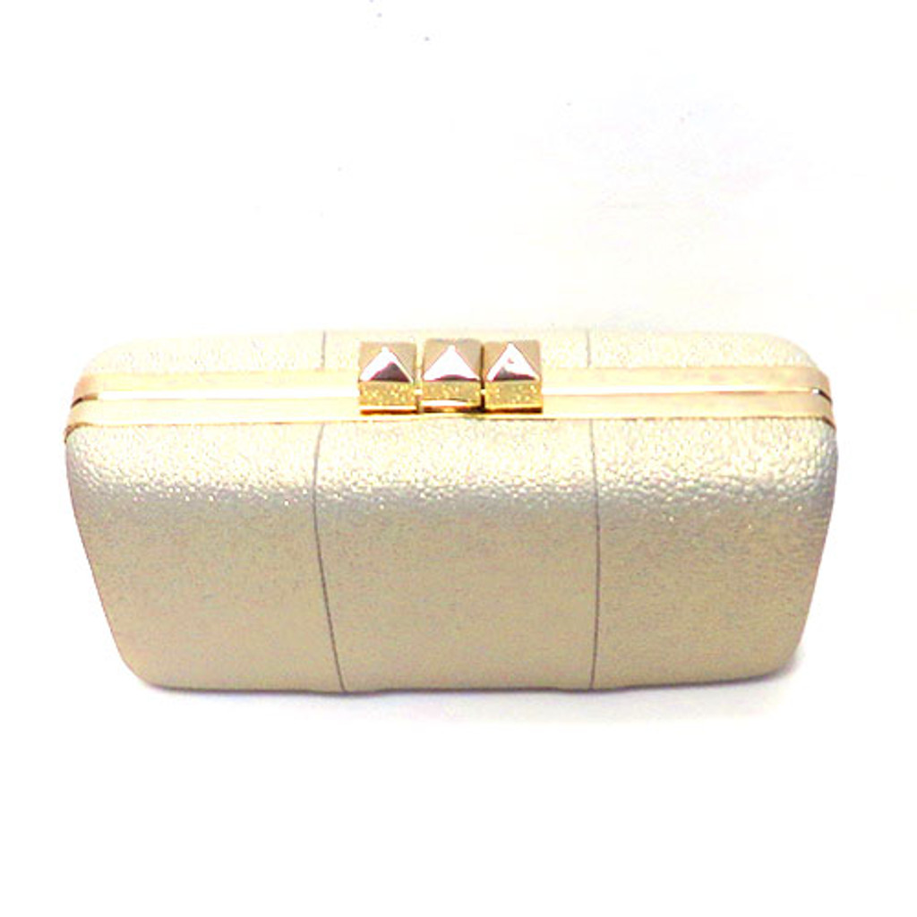 """Sondra Roberts """"Red Carpet"""" Faux Leather Gold Clutch"""