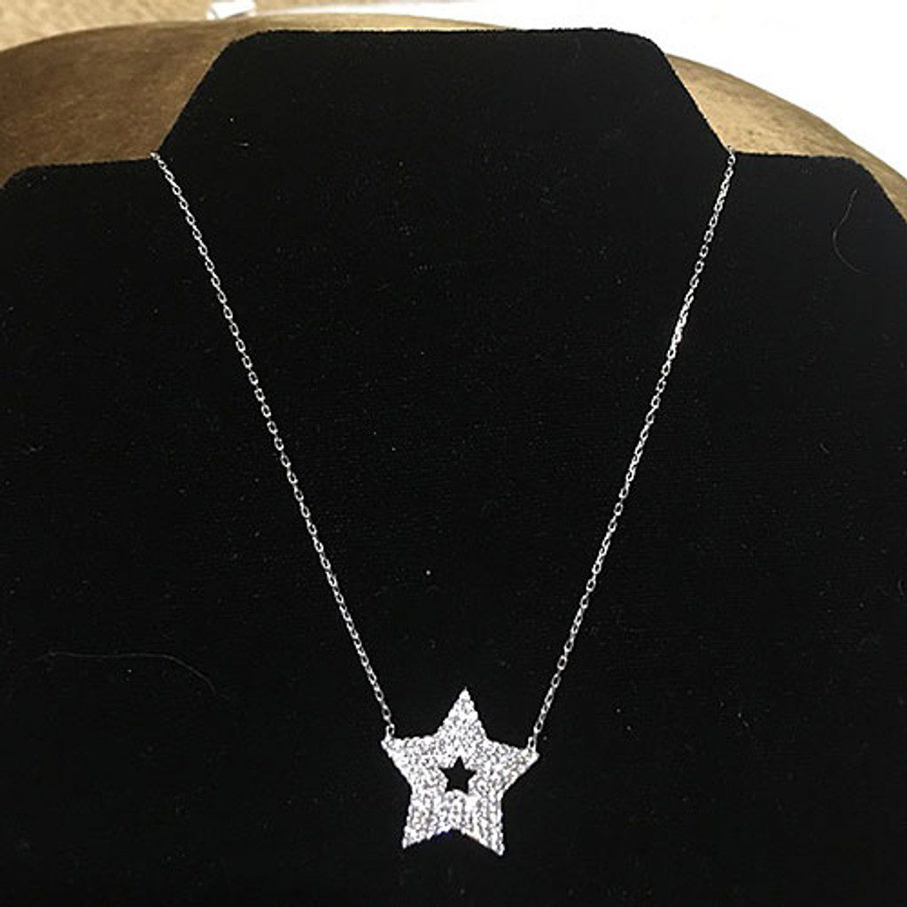 Cubic Zirconia Sterling Silver Star Necklace