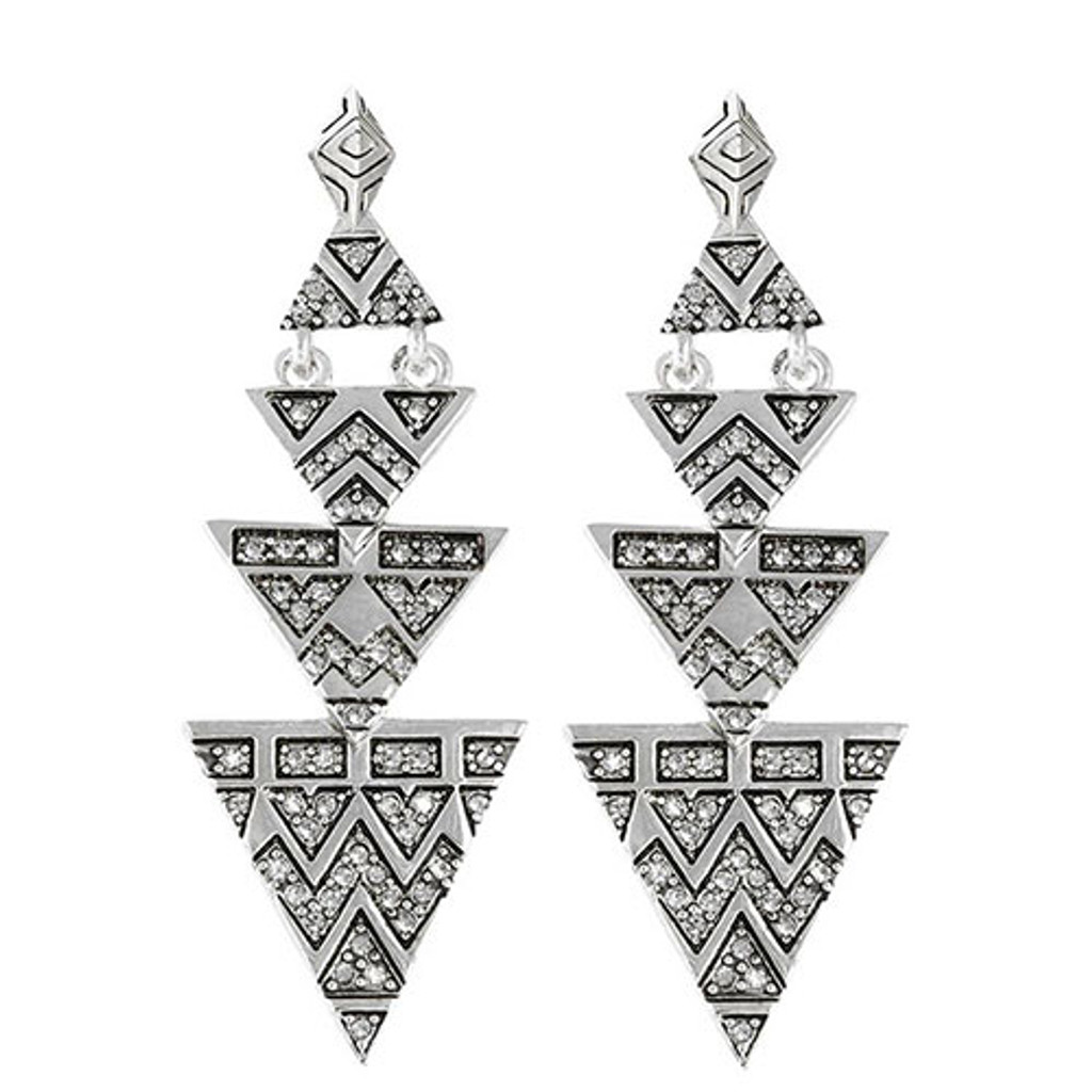 House of Harlow's Silver Tone Pave Tribal Triangle Earrings