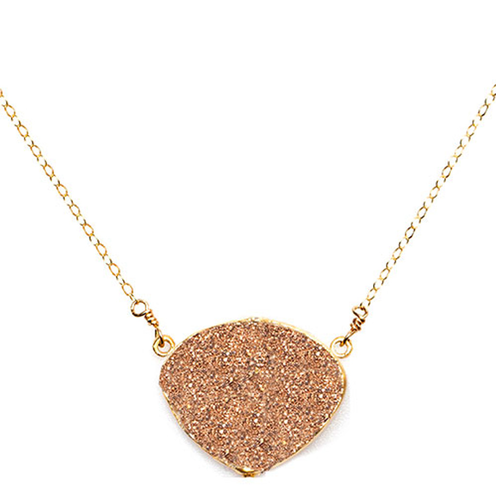 Copper Rounded Triangle Druzy Necklace