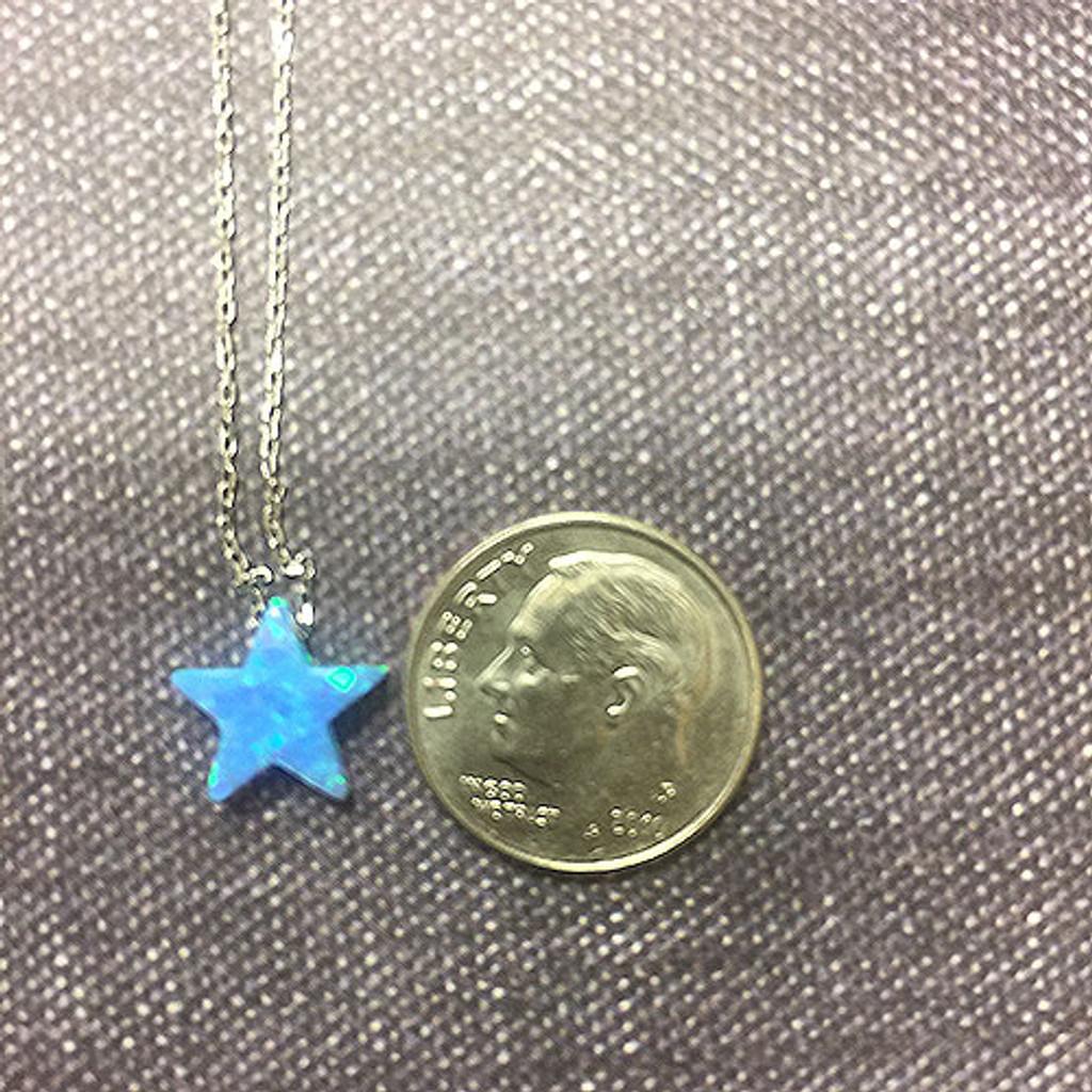 Light Blue Opal Star on Sterling Chain