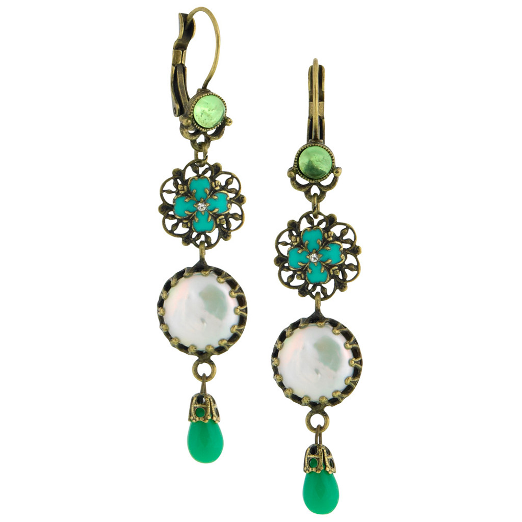Greens and Pearls Earring
