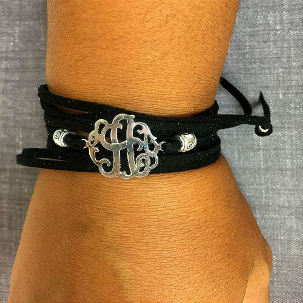 Sterling Silver Suede Wrap Initial Bracelets