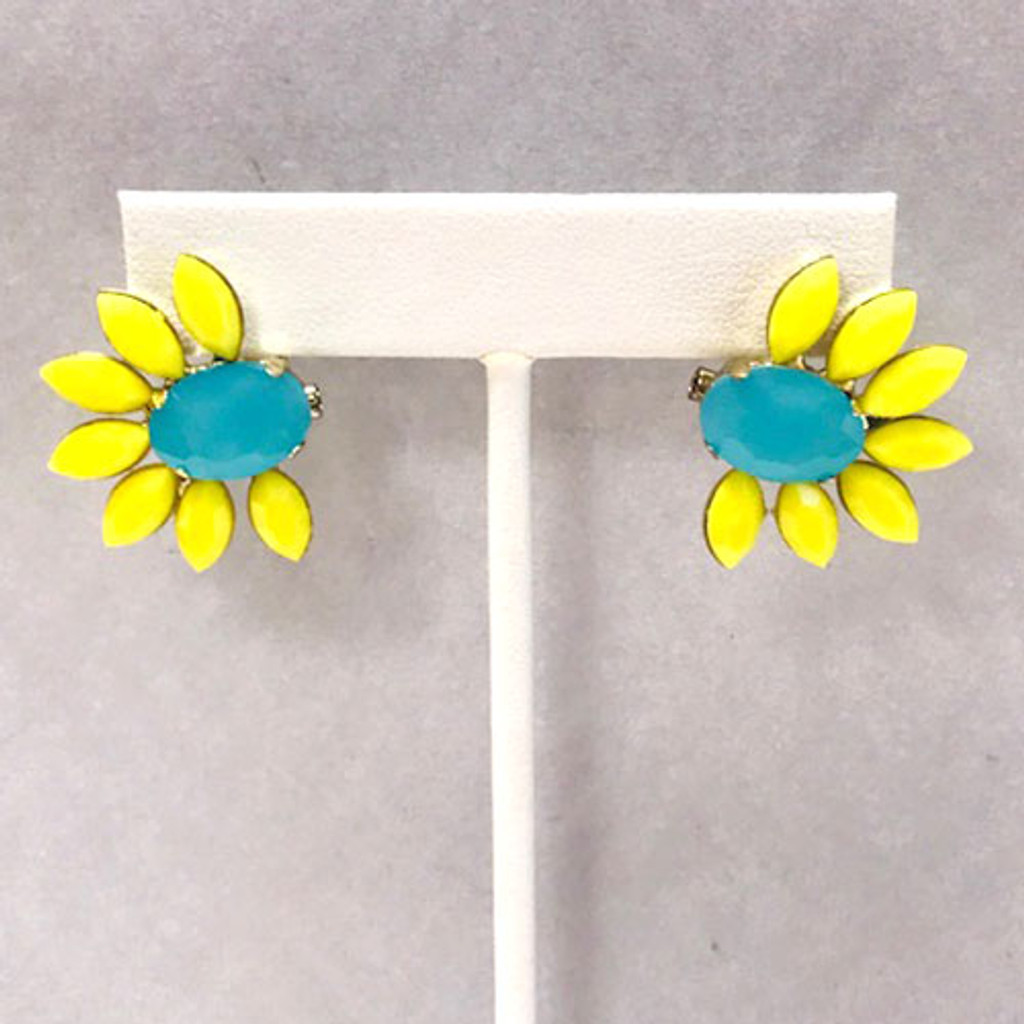 Turquoise and Yellow Fan Post Earrings