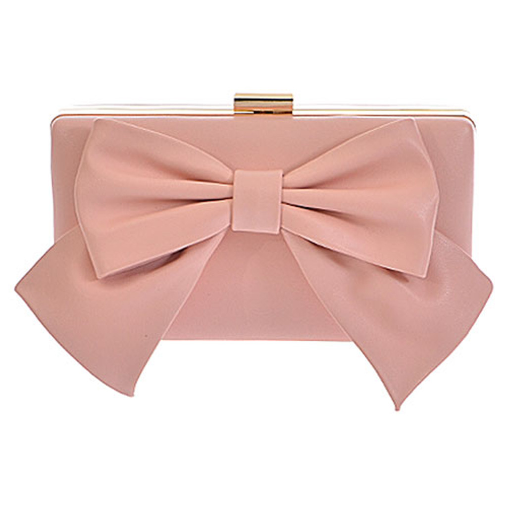 Pale Pink Bow Clutch