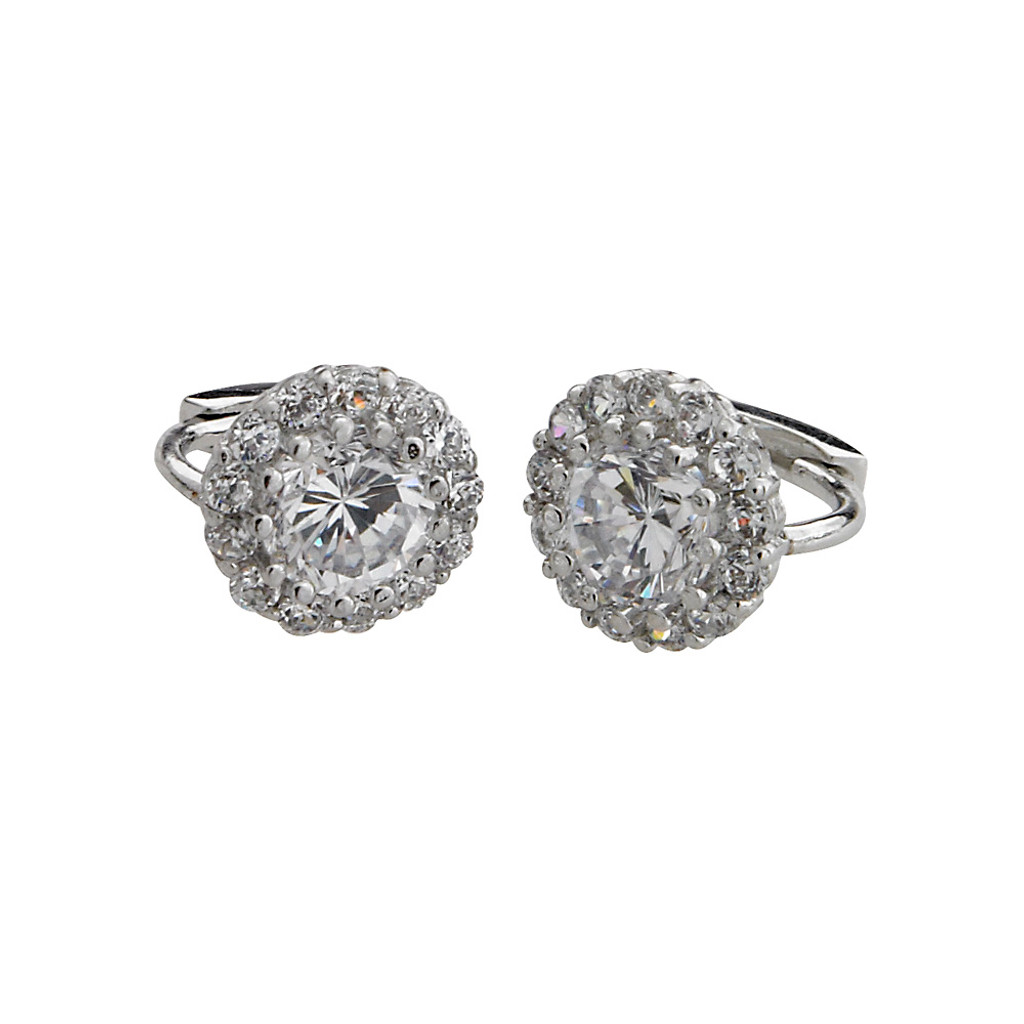 Round Cubic Zirconia Euro Wire Earring