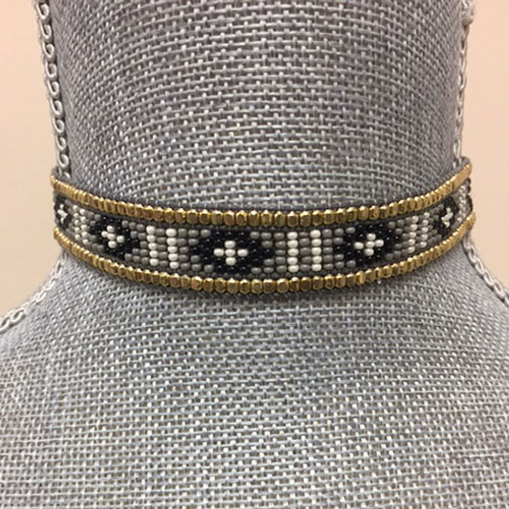 Fully Beaded Tribal Choker Gray