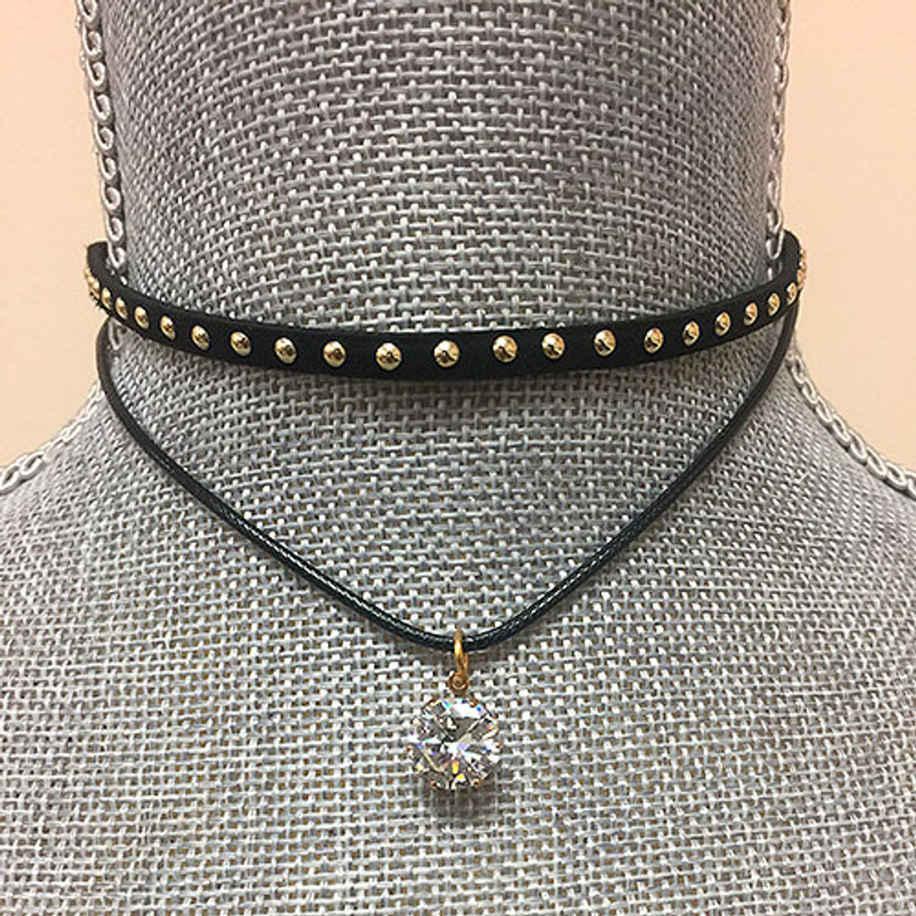 Double Strand Leather Choker With Solitaire Dangle