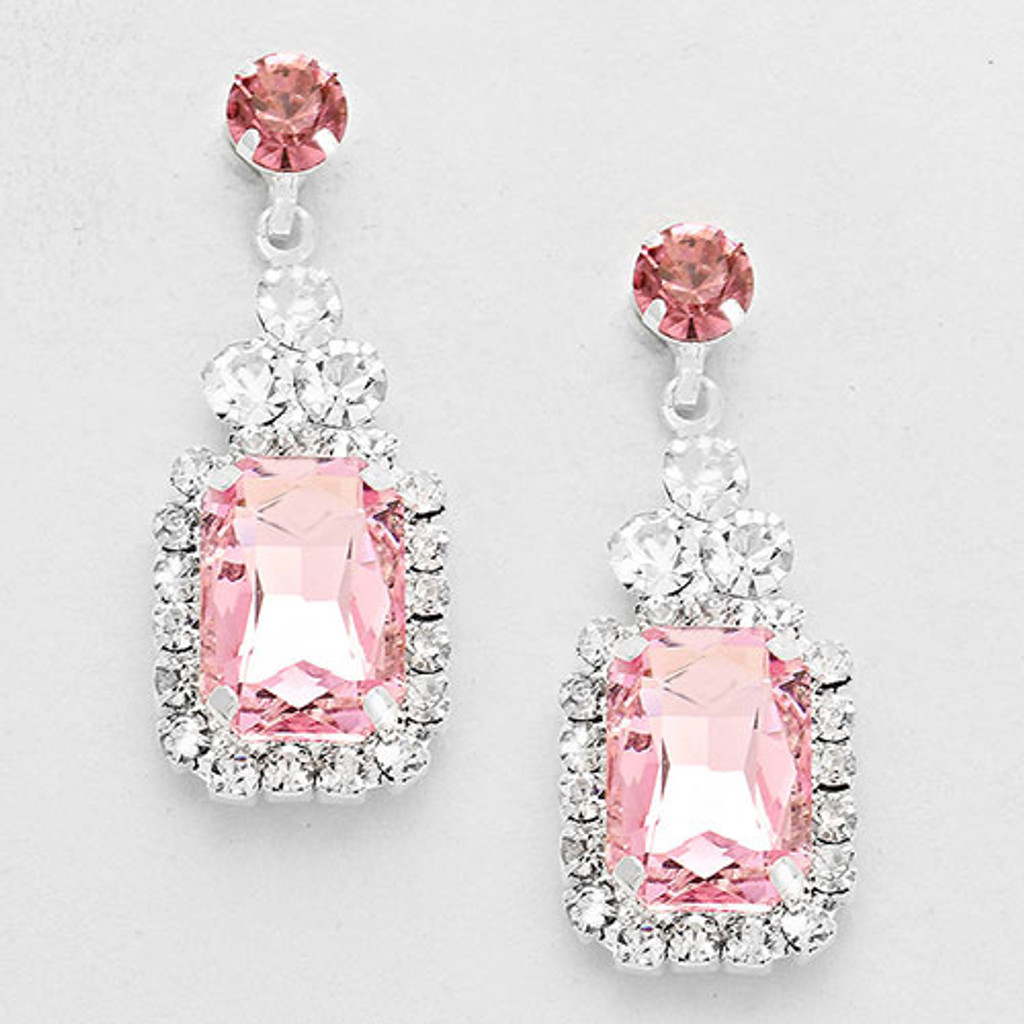 Emerald Cut Light Pink Crystal Drop Earring