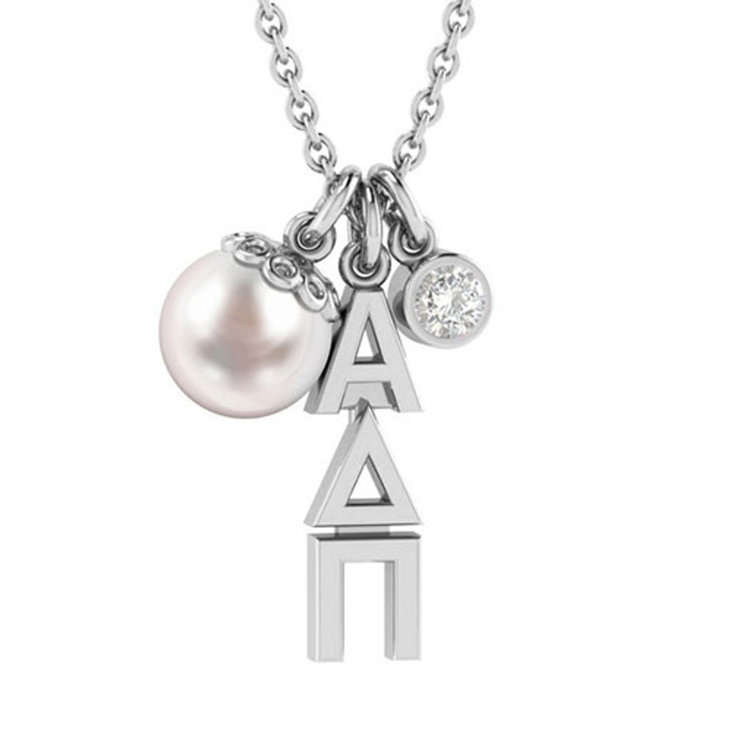 Alpha Delta Pi Silver Triple Charm Necklace
