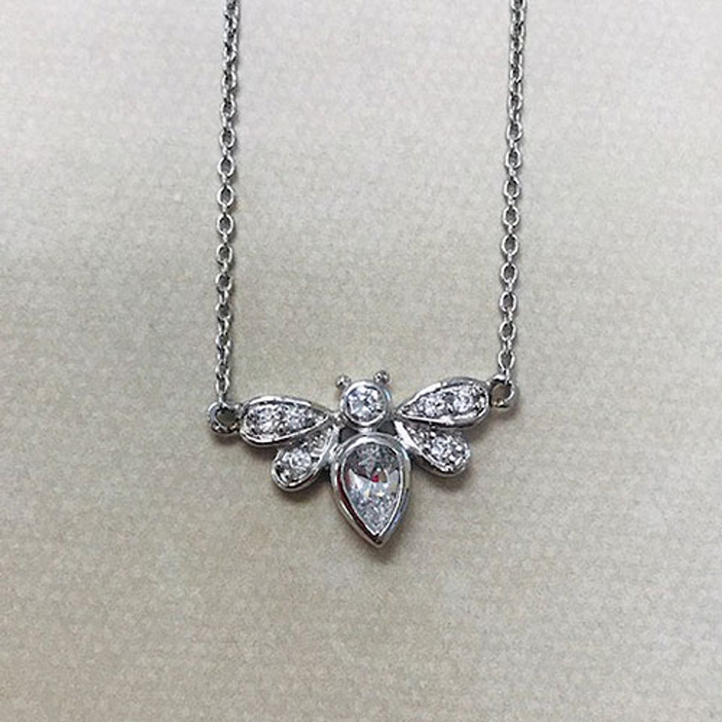 Micro Pave Bee Necklace