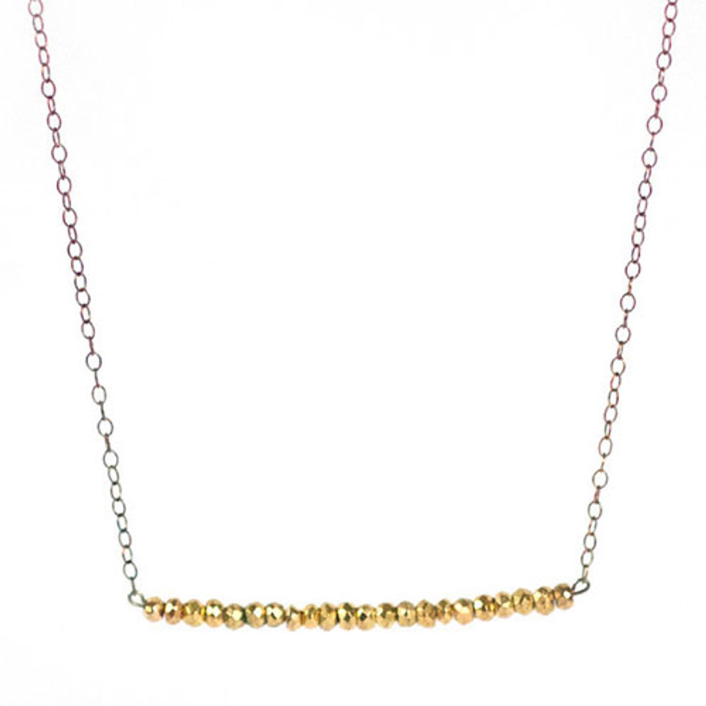 Gold Pyrite Bar Necklace