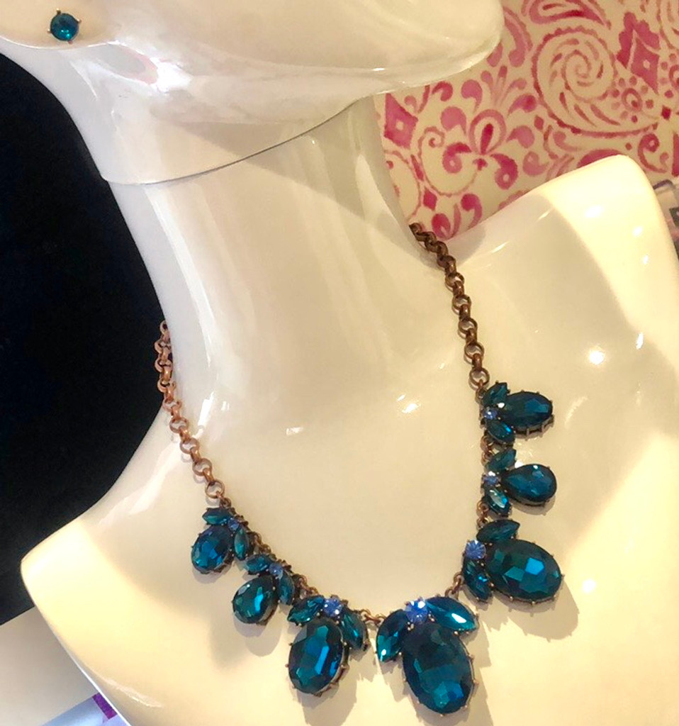Blue Zircon and Rose Gold Statement Necklace