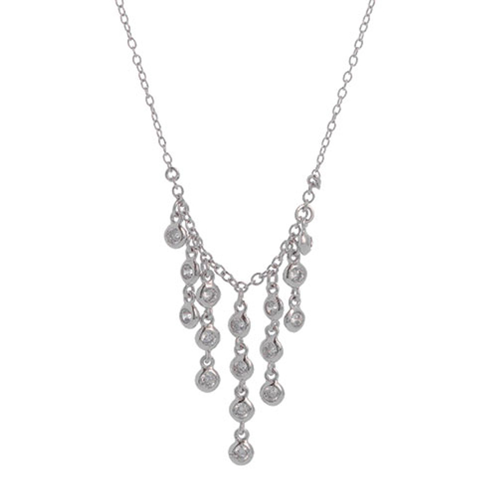 Sterling Silver Cubic Zirconia Waterfall Fringe Necklace