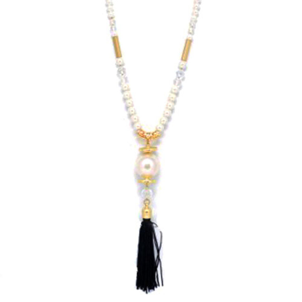 Long Pearl Necklace with Tassel