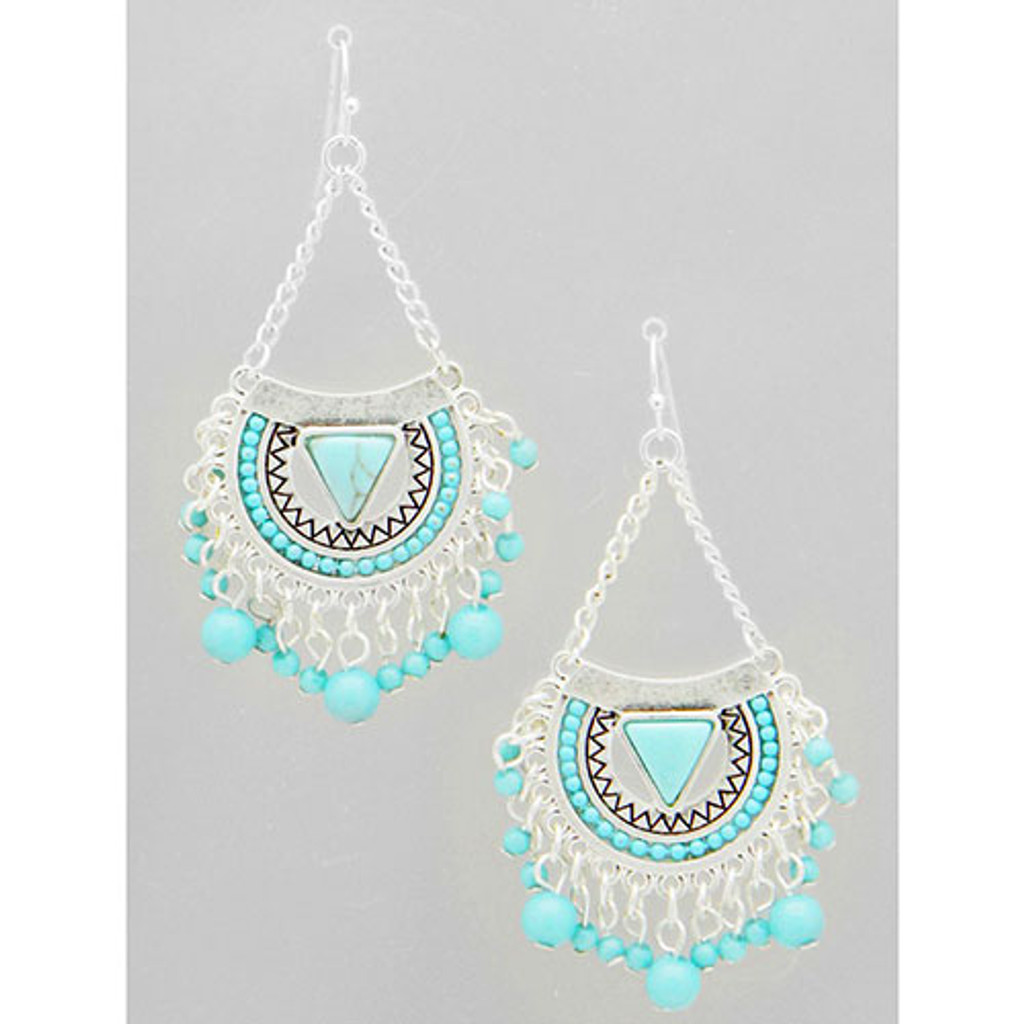 Kyky & Zo Silver Aztec Tribal Turquoise Dangle