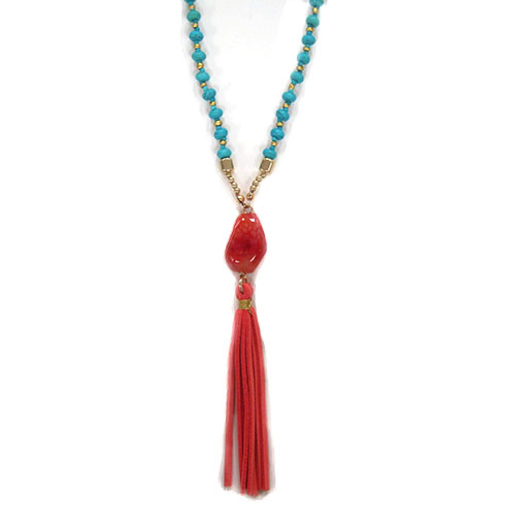 Long Turquoise with Coral Leather Tassel Chain