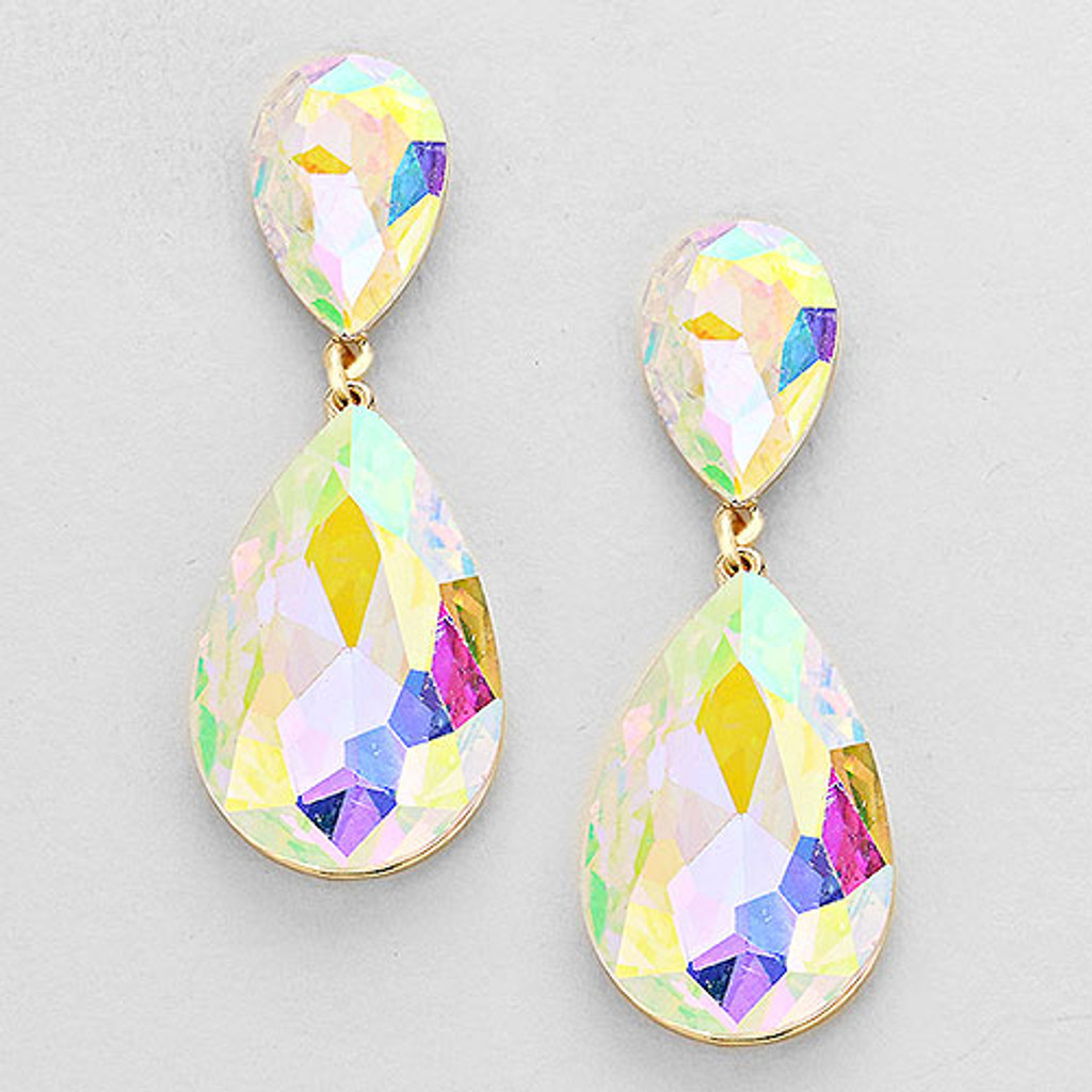 AB Pear-Shaped Crystal Drop Earrings