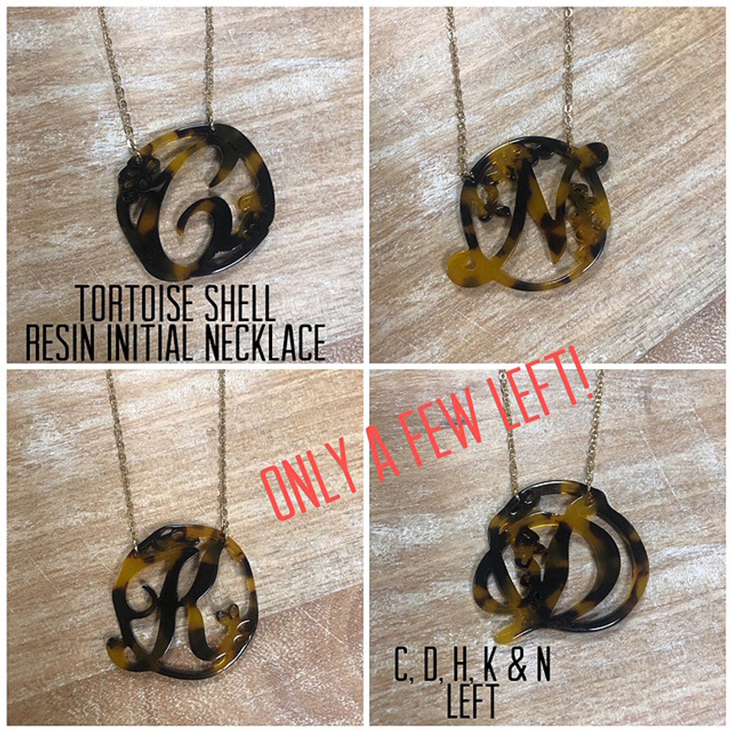 Tortoise Shell Resin Monogram Initial Necklaces