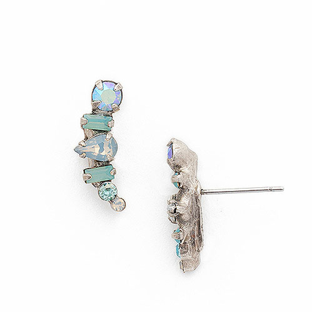 Sorrelli Shades of Teal Curved Post Earring
