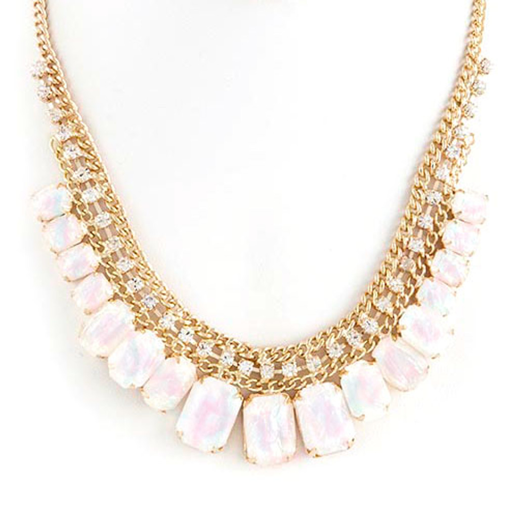 White Opalescent Gumdrop Necklace