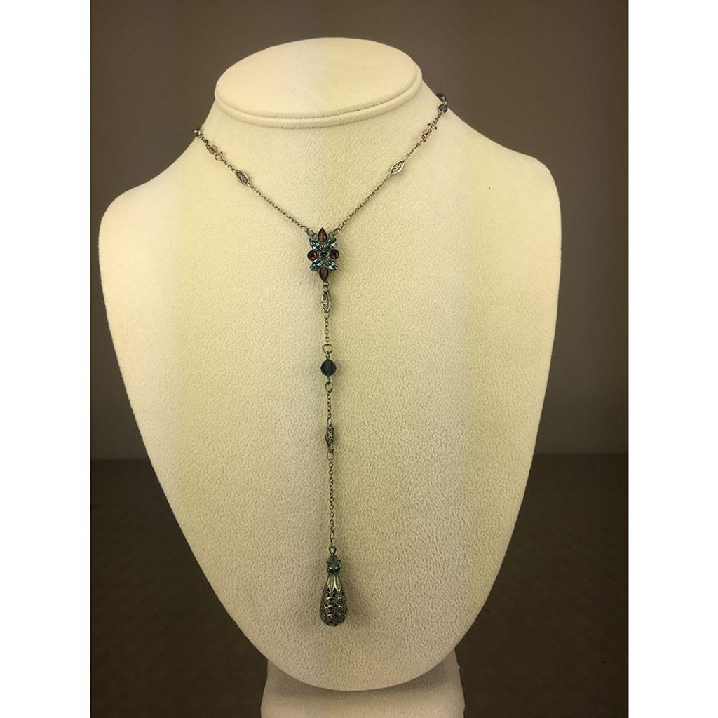 "Sorrelli's Long Montana Blue Tapestry ""Y""  Necklace"
