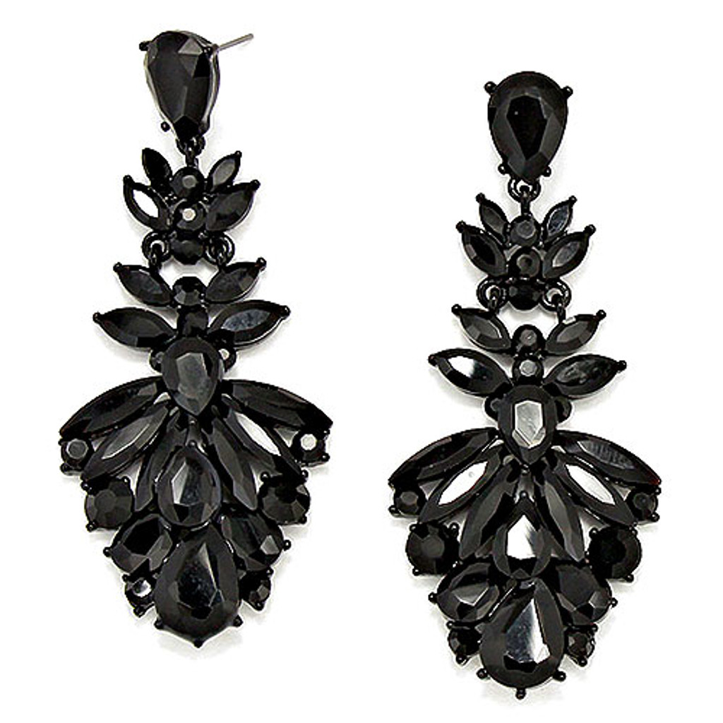 Beverly Hills Jet Black Glam Earring