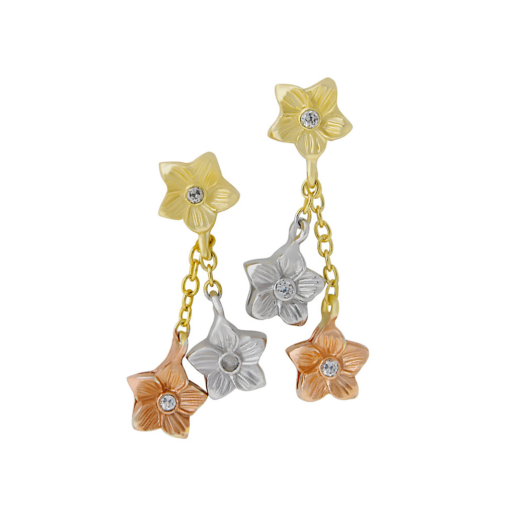 Tri-Colored Petite Star and Flower Dangle Earring