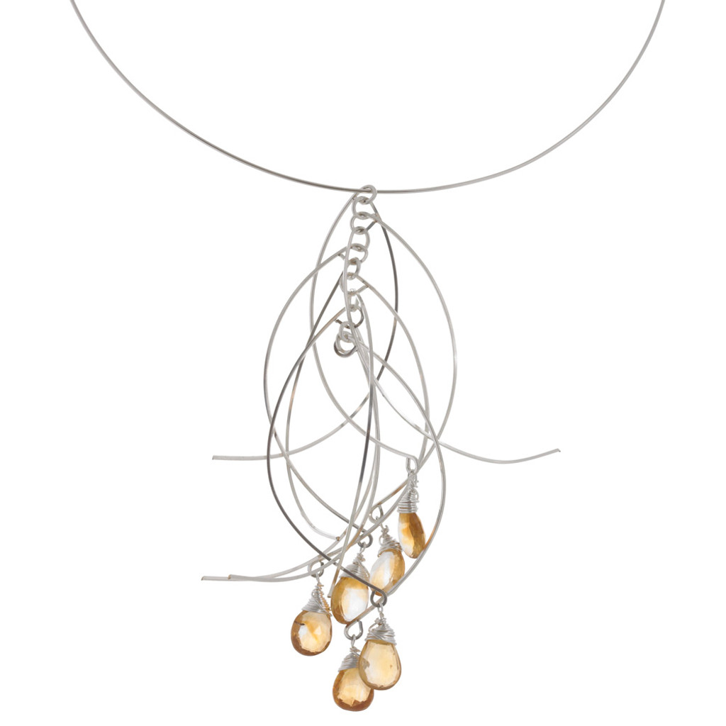 Zia's Silver Sticks and Citrine Stones Short Necklace