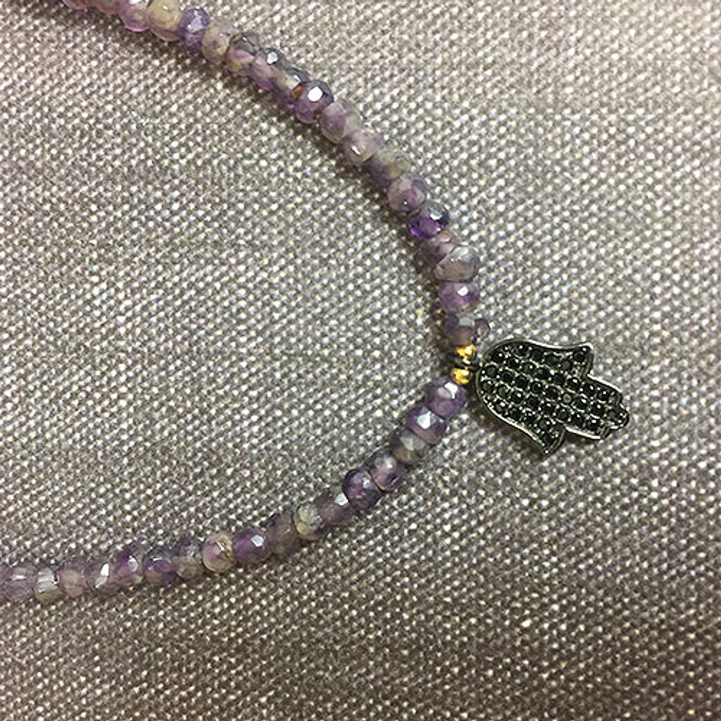Genuine Amethyst Beaded Choker with Black Crystal Hamsa