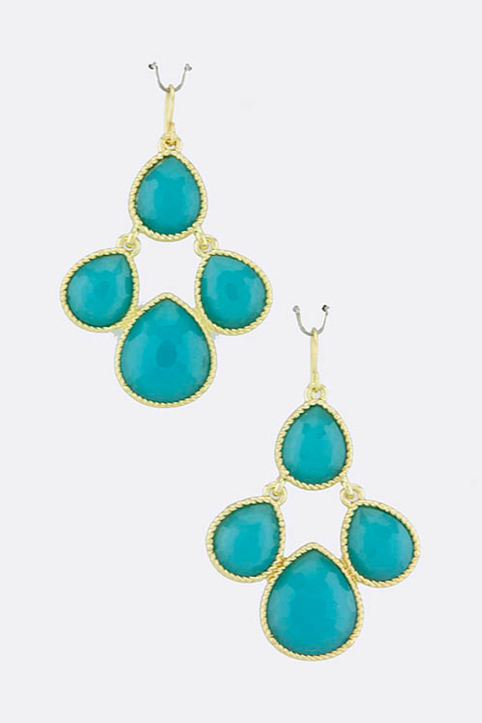 Turquoise Dew Drop Jewel Earrings