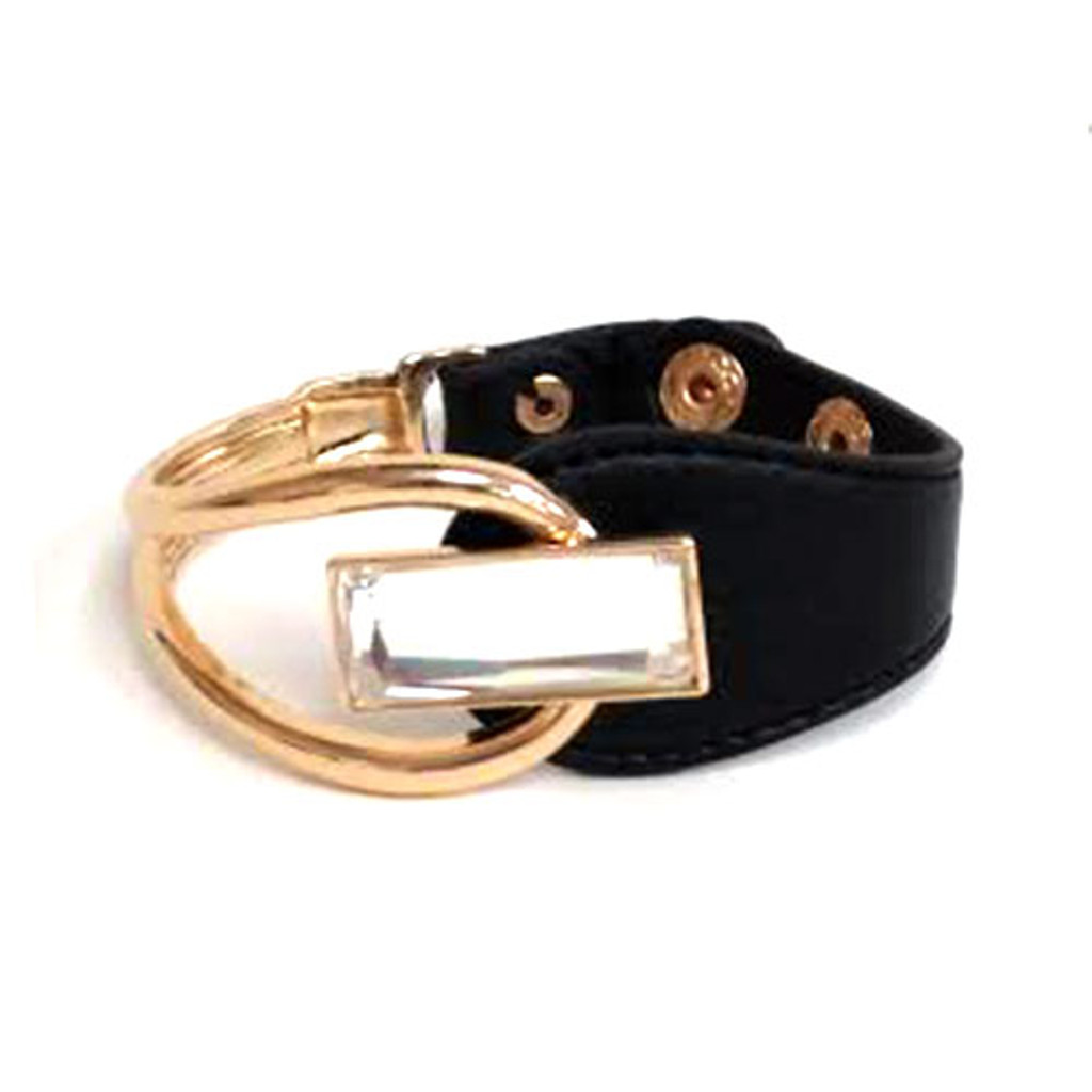 Rectangular Shaped Crystal Leather Bracelet