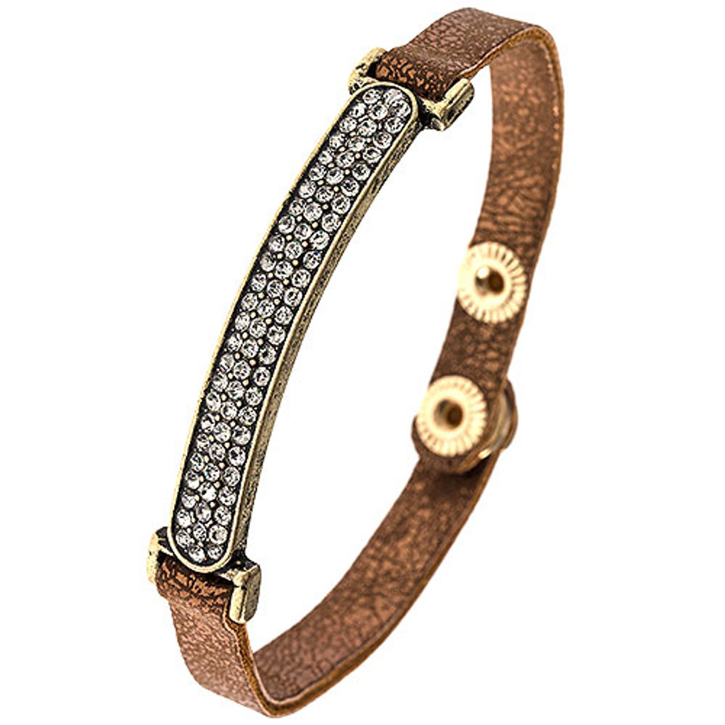 Faux Bronze Leather & Crystal Bar Bracelet