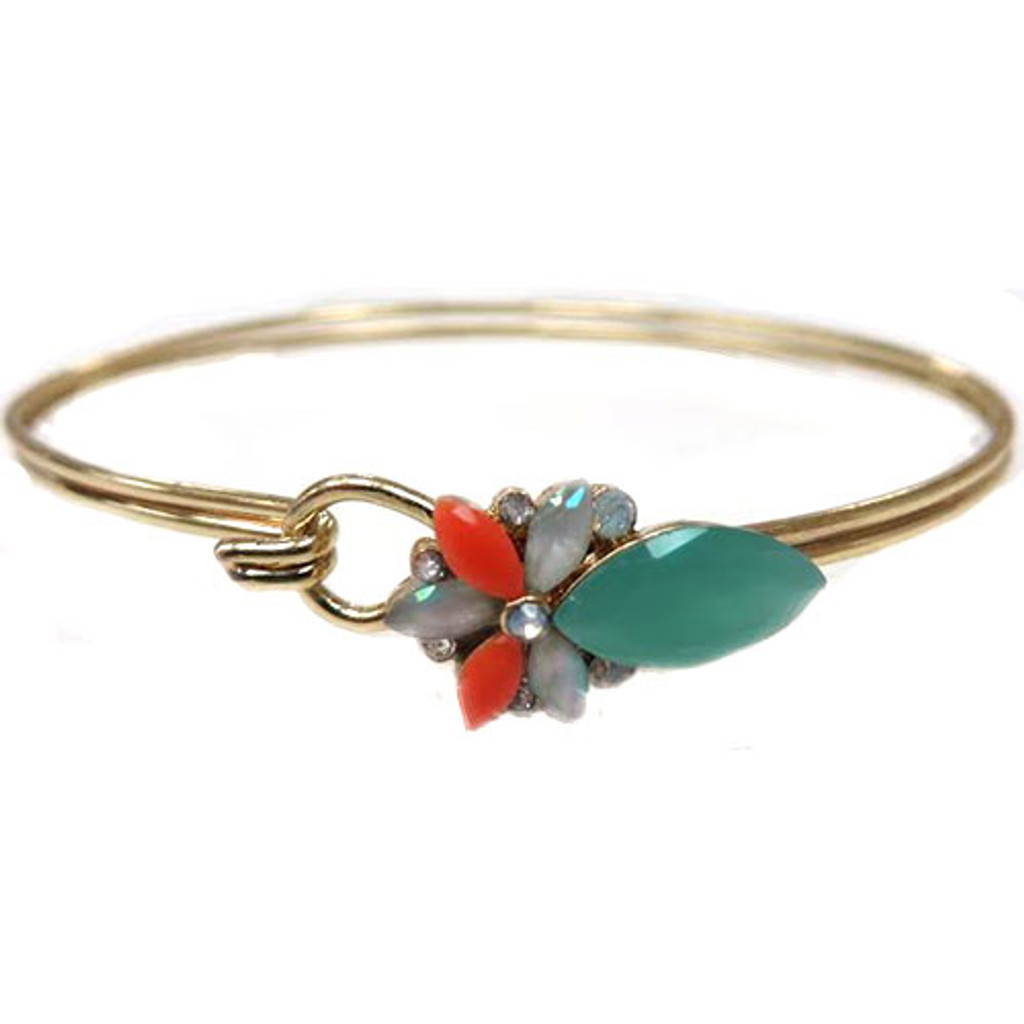 A Little Pop of Color Flower Bangle-Turquoise