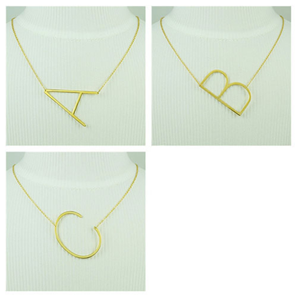 Our Wonderful Sideways Large Initial Necklaces