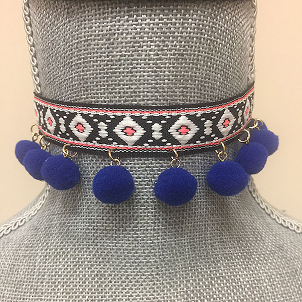 Black Hippie Band Choker with Blue Pom Poms