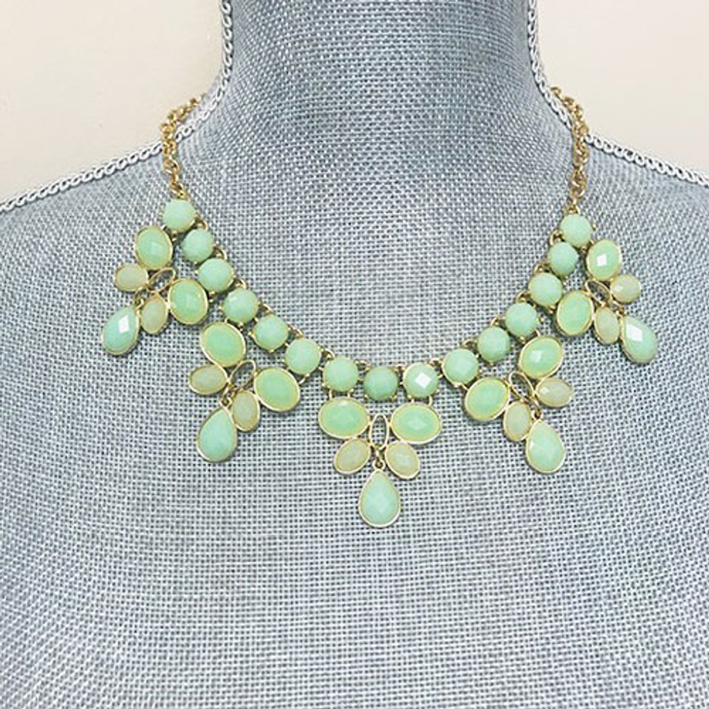 Mint Five Pointed Bib Necklace