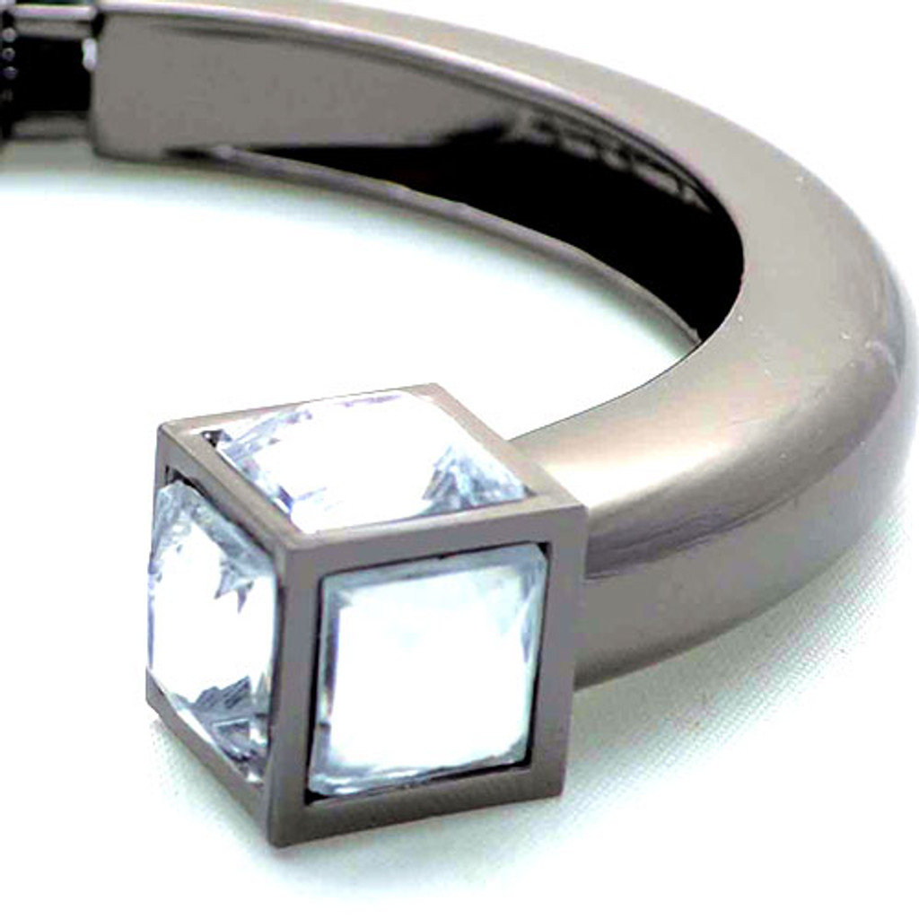 Crystal Cube Open End Gunmetal Bangle